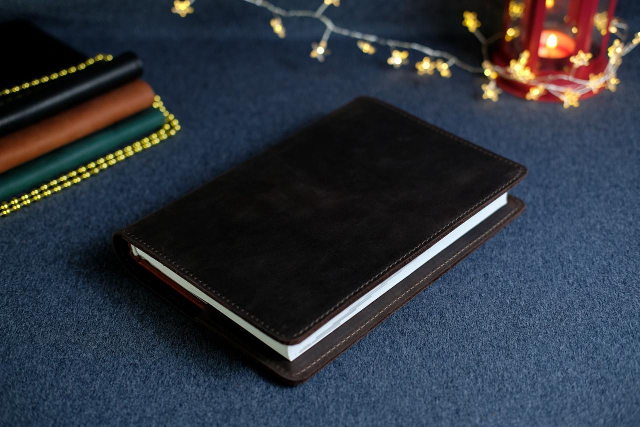 """Обкладинка з органайзером щоденника формату А5 """"Модель №15"""", Вінтажна шкіра, колір Шоколад"""