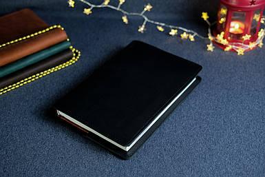 """Обложка с органайзером для ежедневника формата А5 """"Модель №15"""", Кожа Итальянский Краст, цвет Черный"""
