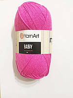 Нитки для в'язання пряжа акрилова дитяча Baby YarnArt, 100% акрил   50 гр., 150 м,  174, рожева насичена