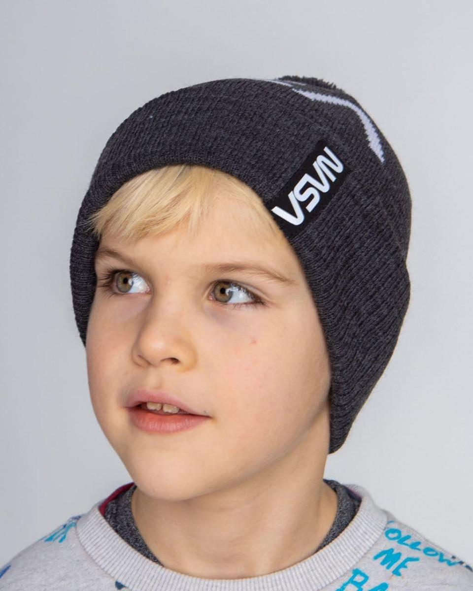 В'язана шапка з помпоном на зиму для хлопчика оптом - Артикул 2735