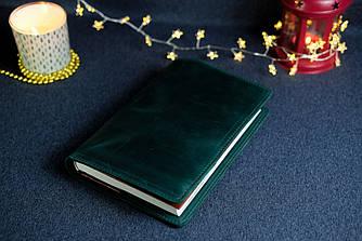 """Обложка с пеналом для ежедневника формата А5 """"Модель №16"""", Винтажная кожа, цвет Зеленый"""