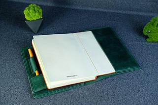 """Обкладинка з пеналом для щоденника формату А5 """"Модель №16"""", Вінтажна шкіра, колір Зелений, фото 3"""