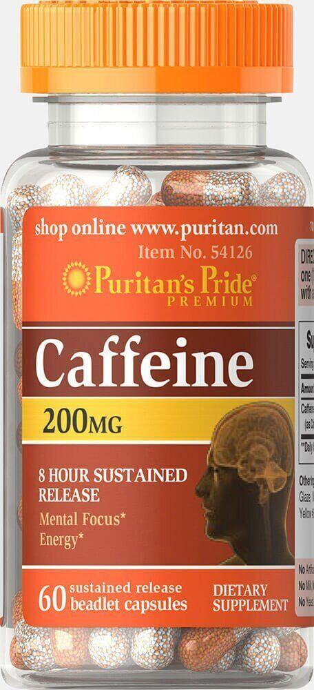 Puritan's Pride Caffeine, Кофеин 200 mg (60 капс.)