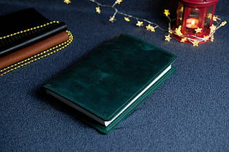 """Обложка с органайзером для ежедневника формата А5 """"Модель №15"""", Винтажная кожа, цвет Зеленый"""