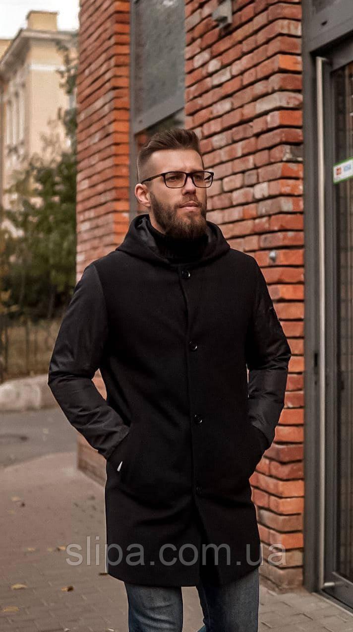 Мужское пальто чёрное с капюшоном Riccardo демисезонное