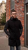 Мужское пальто чёрное с капюшоном Riccardo демисезонное, фото 1