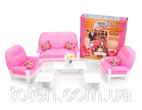 """Набір лялькової меблів Gloria 94014 """"Вітальня принцеси"""", диван, крісло, столик, стільці"""