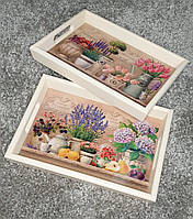 Поднос деревянный с керамикой Прованс-Керамик, фото 1