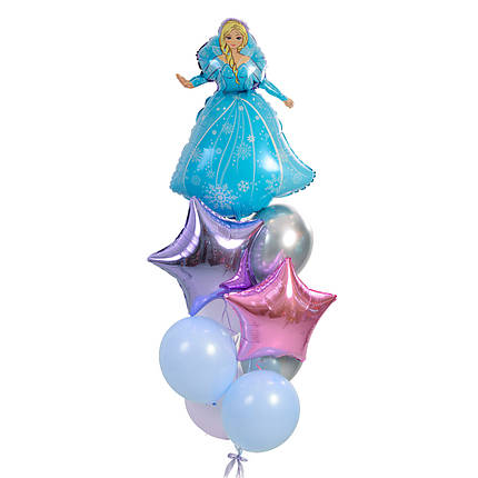 Связка: Эльза, звезда сиреневая и розовый металлик, 2 серебро хром, 2 светло-сиреневых, 2 голубых., фото 2
