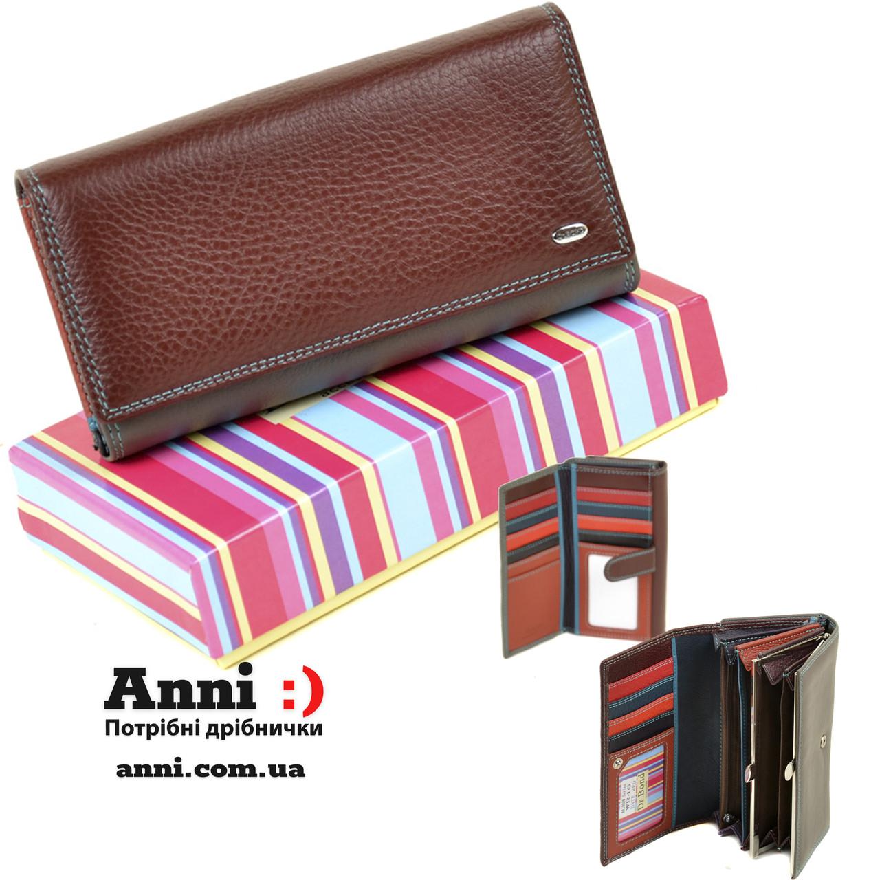 Кожаный женский кошелек с визитницей  DR. BOND WR46 date-red