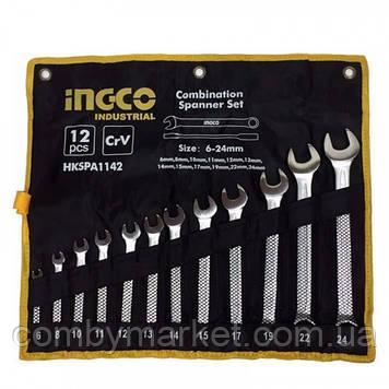 Набір ключів гаєчних комбінованих 6-24 мм 12 шт в чехле INGCO INDUSTRIAL