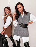 Стильная вязанная жилетка с блузкой . Цвет жилетки : черный,серый,кирпичный, фото 2