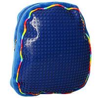Пиксельный мягкий рюкзак с лего (синий)
