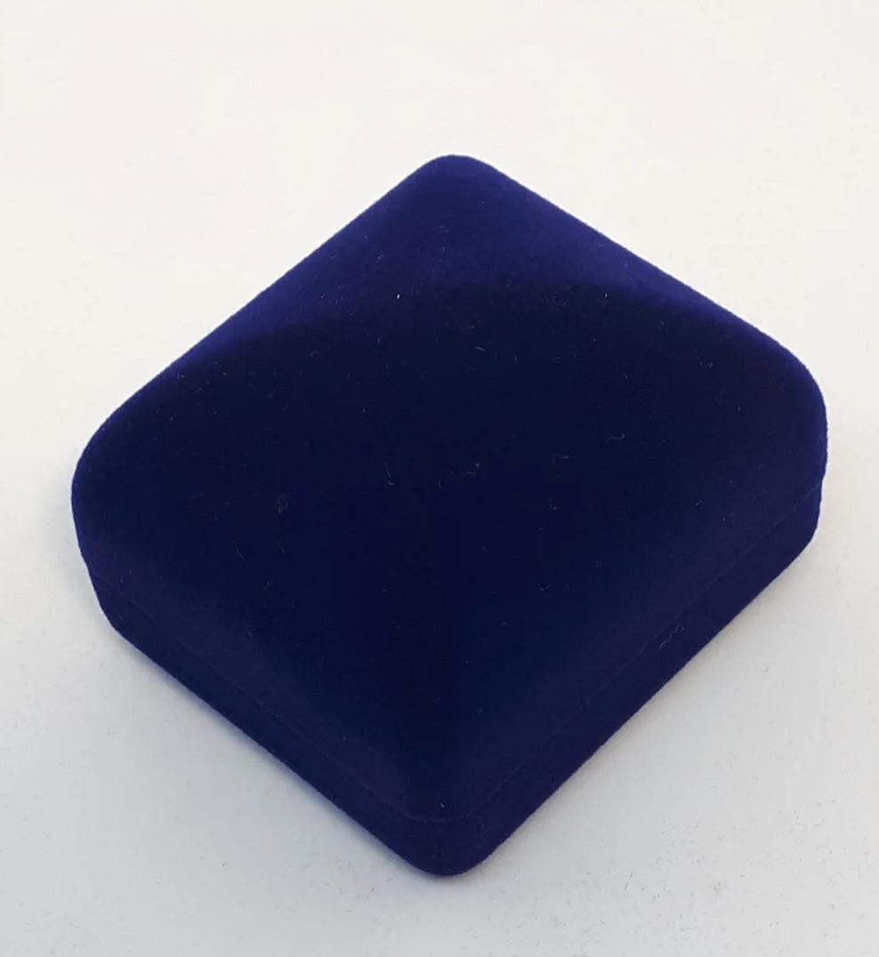Футляр для ювелирных изделий для Кольца квадратный Бархатный Темно-Синий