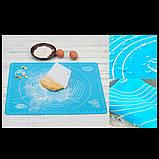 Силиконовый коврик для раскатки и выпечки теста 46х38см Голубой, фото 3