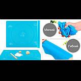 Силиконовый коврик для раскатки и выпечки теста 46х38см Голубой, фото 2