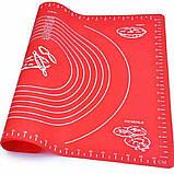Силиконовый коврик для раскатки и выпечки теста 48х38 см Красный, фото 2