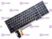 Оригинальная клавиатура для ноутбука Lenovo ThinkPad E580, L580 series, black, ru, подсветка, серая рамка