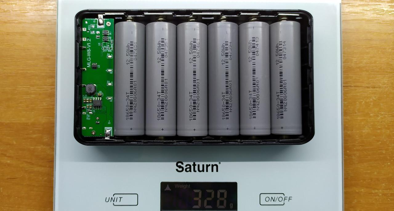 Готовый повербанк 6*18650 W6 выход 2xUSB 5V 2A вход 5V 2A type C или micro USB LED фонарик powerbank 19800mAh