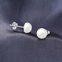 """Серьги гвоздики из серебра 925 пробы с натуральным жемчугом """"Silver and Pearl"""", диаметр жемчужины 6,5 мм., фото 1"""