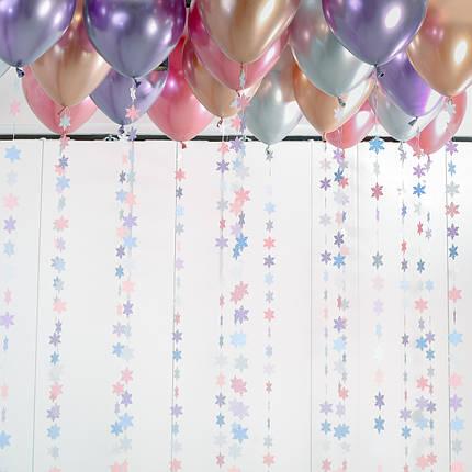 20 хромированных шаров под потолок с гирляндами снежинки, фото 2