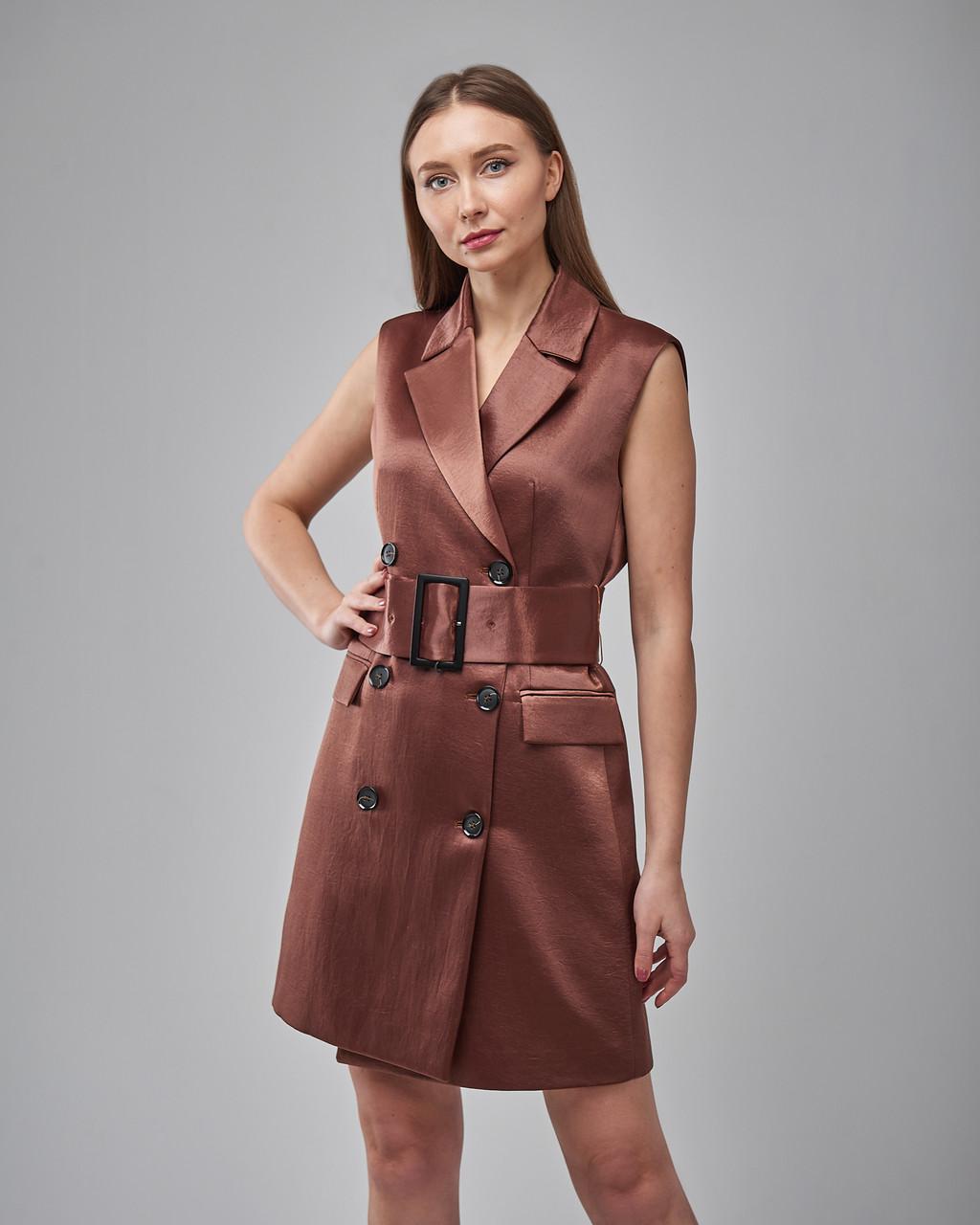 Платье-пиджак двубортное с поясом без рукавов Setre