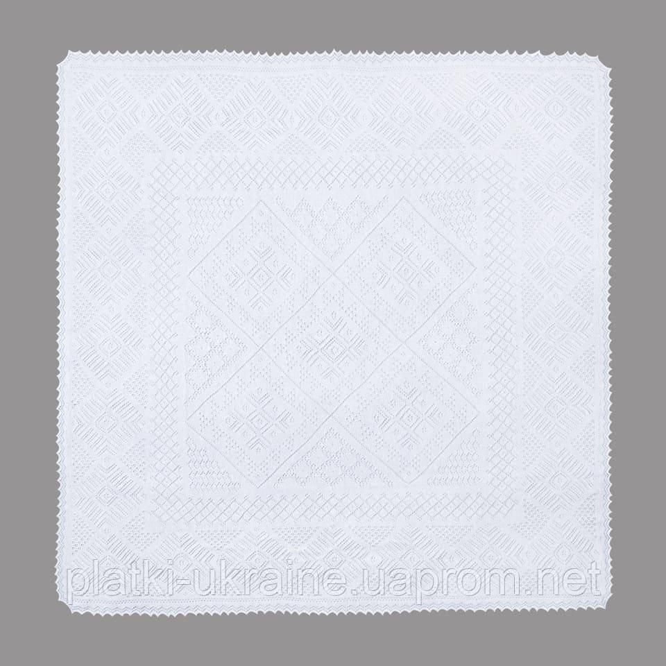 097 825 05 88. Оренбургский пуховый платок паутинка 160х160 см. Цвет: Белый. Этикетка отсутствует.