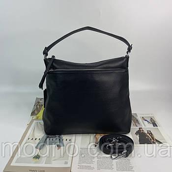 Жіноча містка шкіряна сумка на та через плече Polina & Eiterou чорна