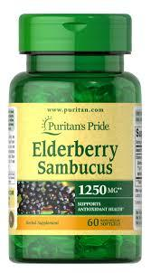 Puritan's Pride Квіти Sambucus 1250 mg, Екстракт Бузини (60 капс.)