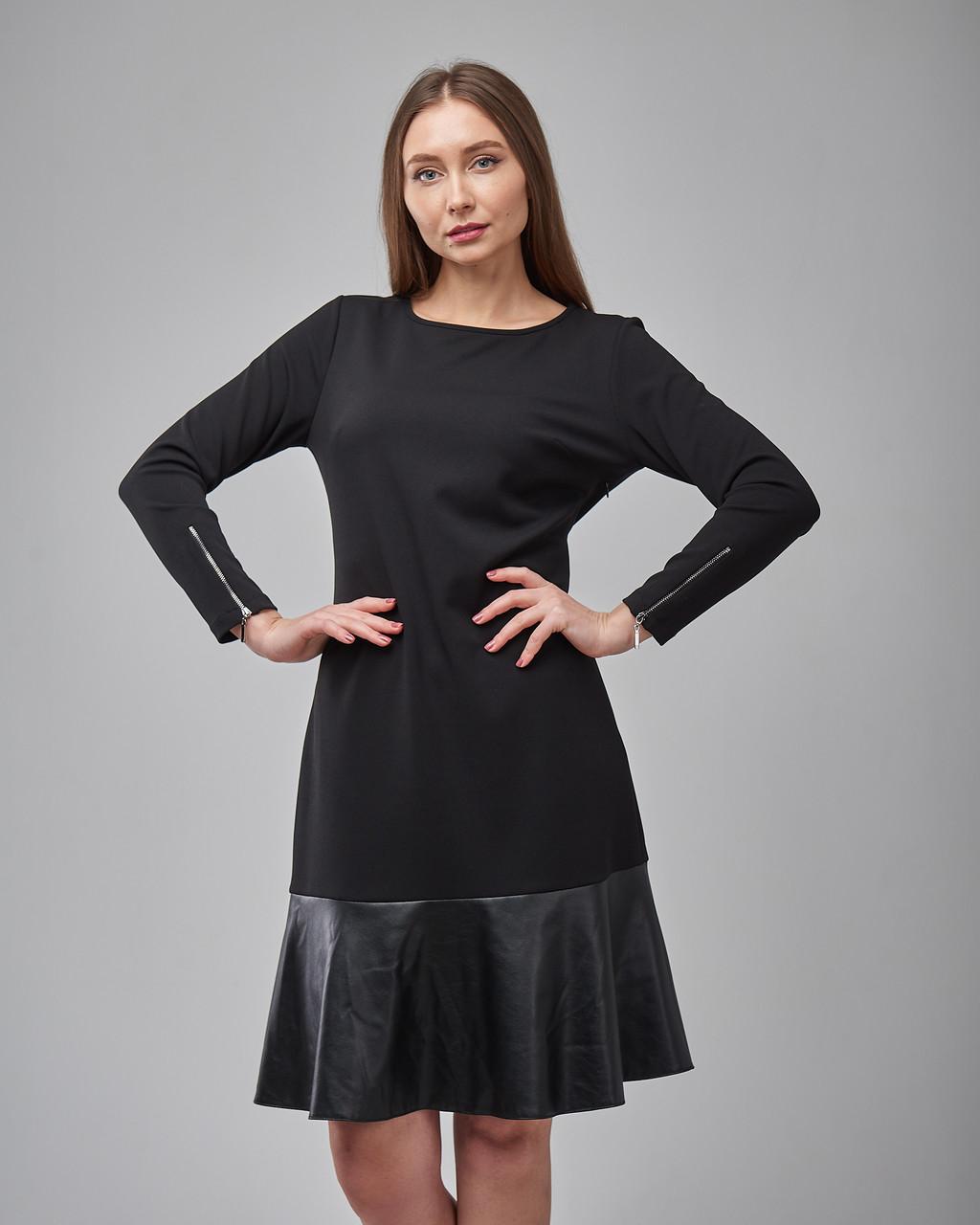 Черное трикотажное платье свободного кроя. Турция