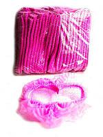 Шапочка из нетканого материала на одной резинке 100шт Polix (Красный, Синий, Розовый, Белый) Розовый