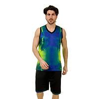 Форма баскетбольна чоловіча LD-8007-2 (PL, синій салатовий )