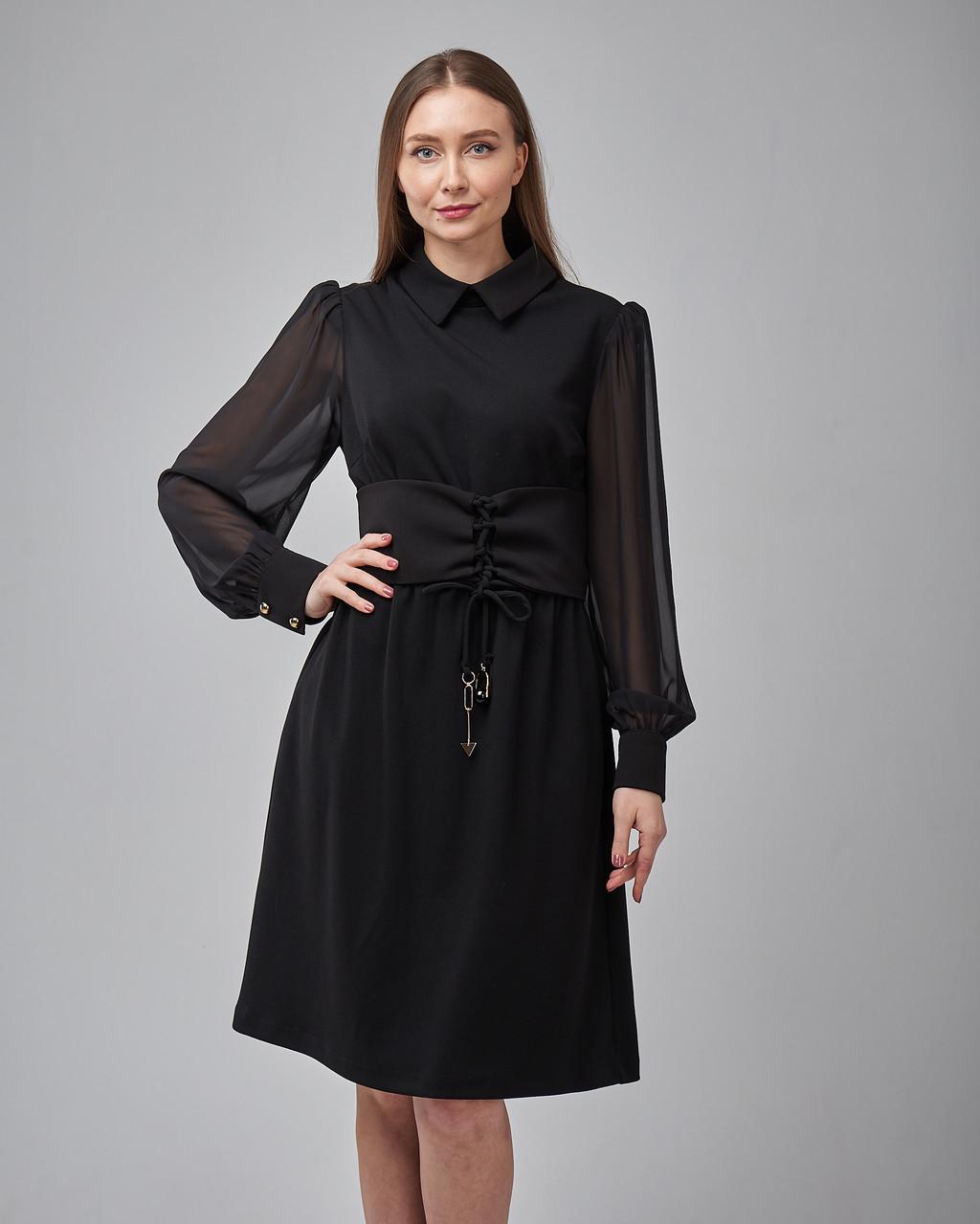 Черное платье-рубашка прямого силуэта