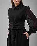 Черное платье-рубашка прямого силуэта, фото 3