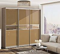 Шкаф купе фасады  стекло крашенное, вставки зеркало бронза мод.2
