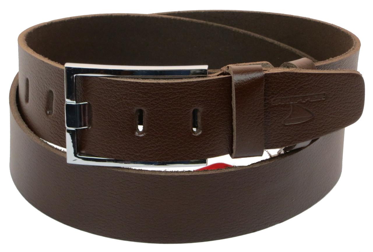 Мужской кожаный ремень под джинсы Skipper 1156-45 коричневый 4,5 см