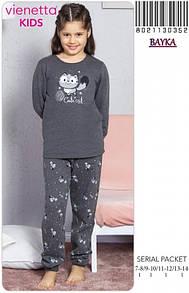 Детская пижама байковая для девочки 13-14 лет