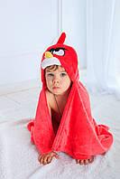 Детское полотенце с капюшоном Dream Towels Angry Bird 76х92 Красный (dm-1004)