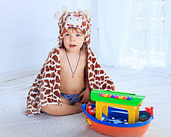 Детское полотенце с капюшоном Dream Towels Жирафчик 76х92 Коричневый (dm-1008)