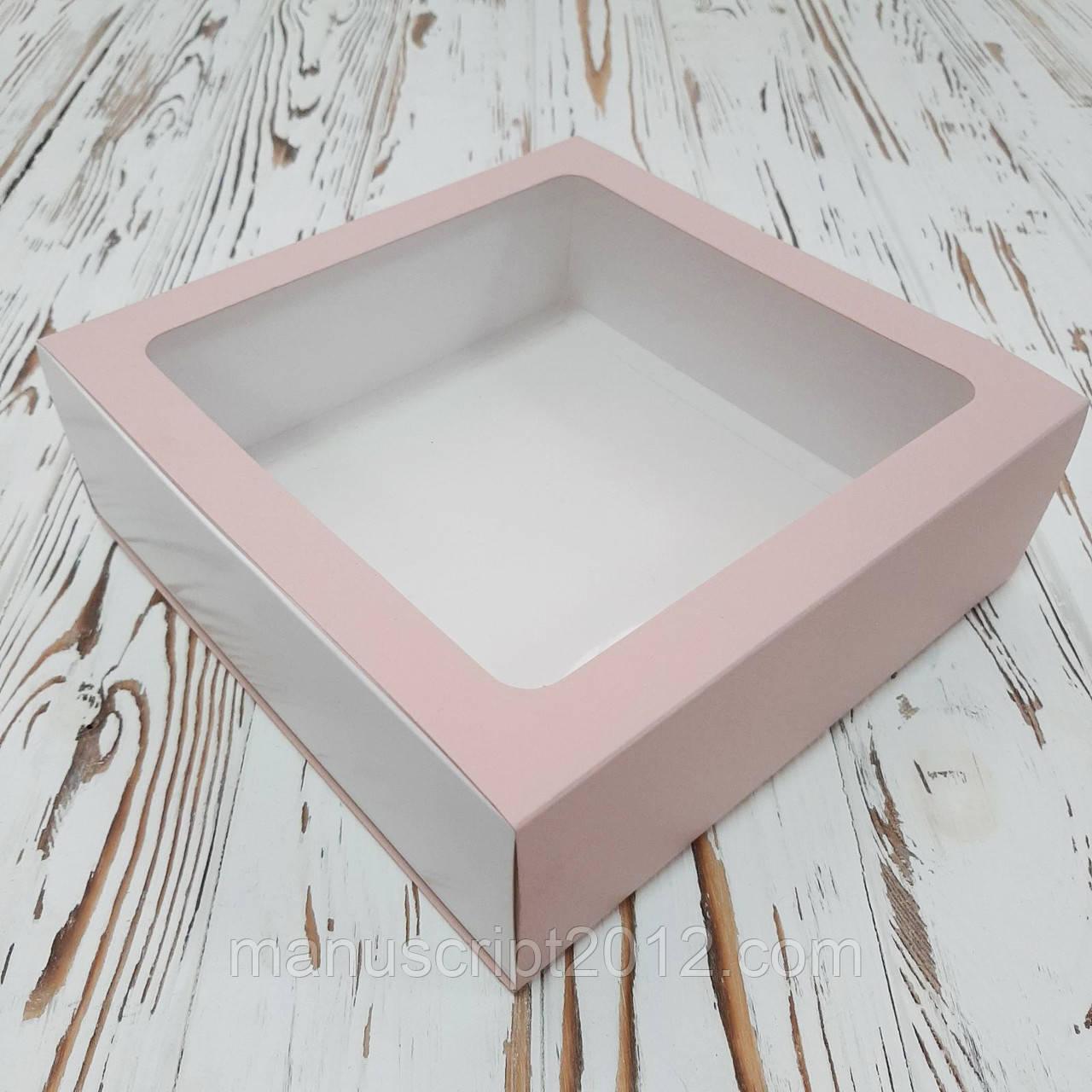 Коробка - пенал з вікном 200х200х65 мм. (рожево-пудрова)