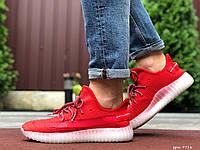 Модные мужские кроссовки Yeezy, реплика,текстильные,красные