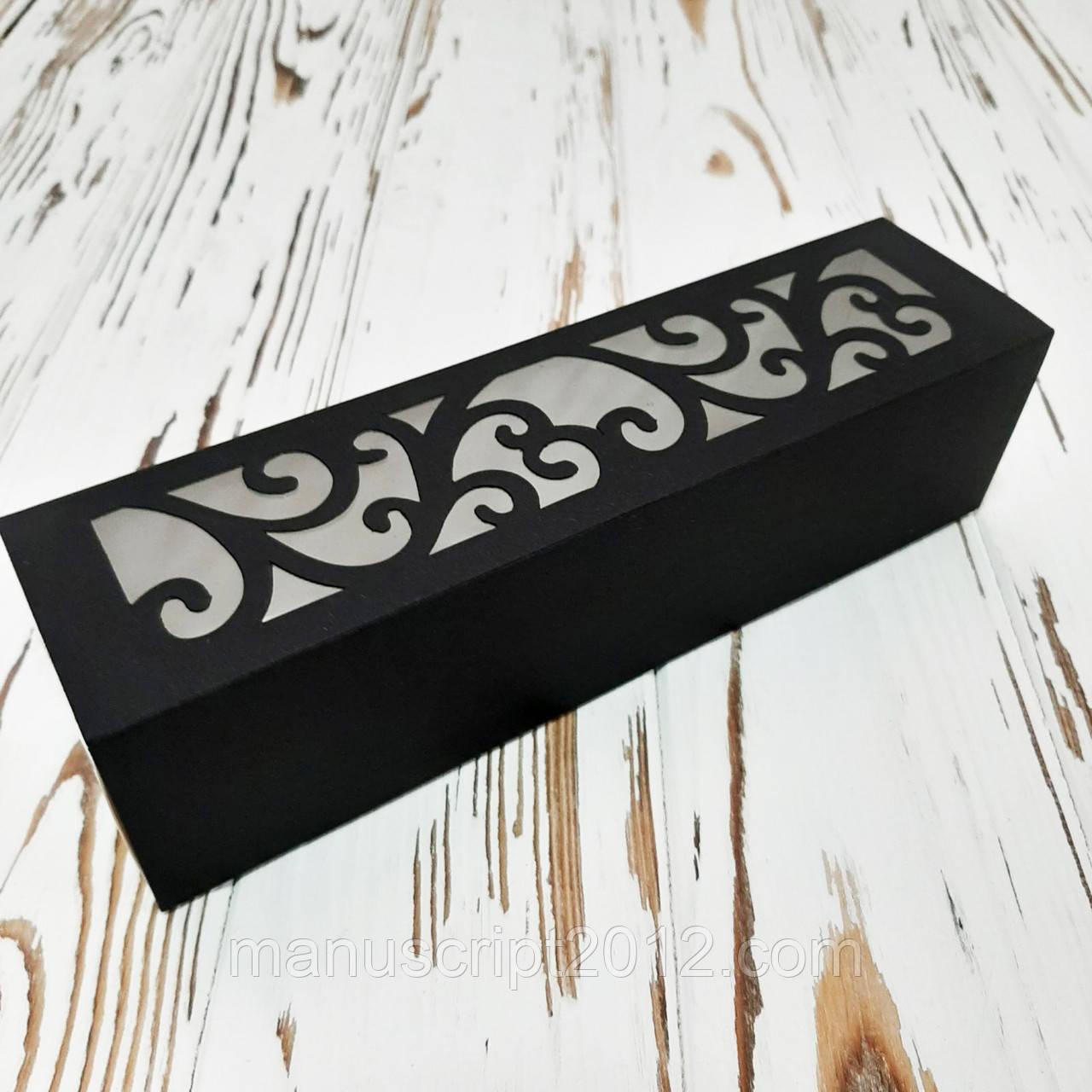 Коробка для макарунс  чорна 200х50х50 мм.