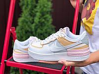 Женские кроссовки Nike Air Force 1 Shadow,белые с бежевым