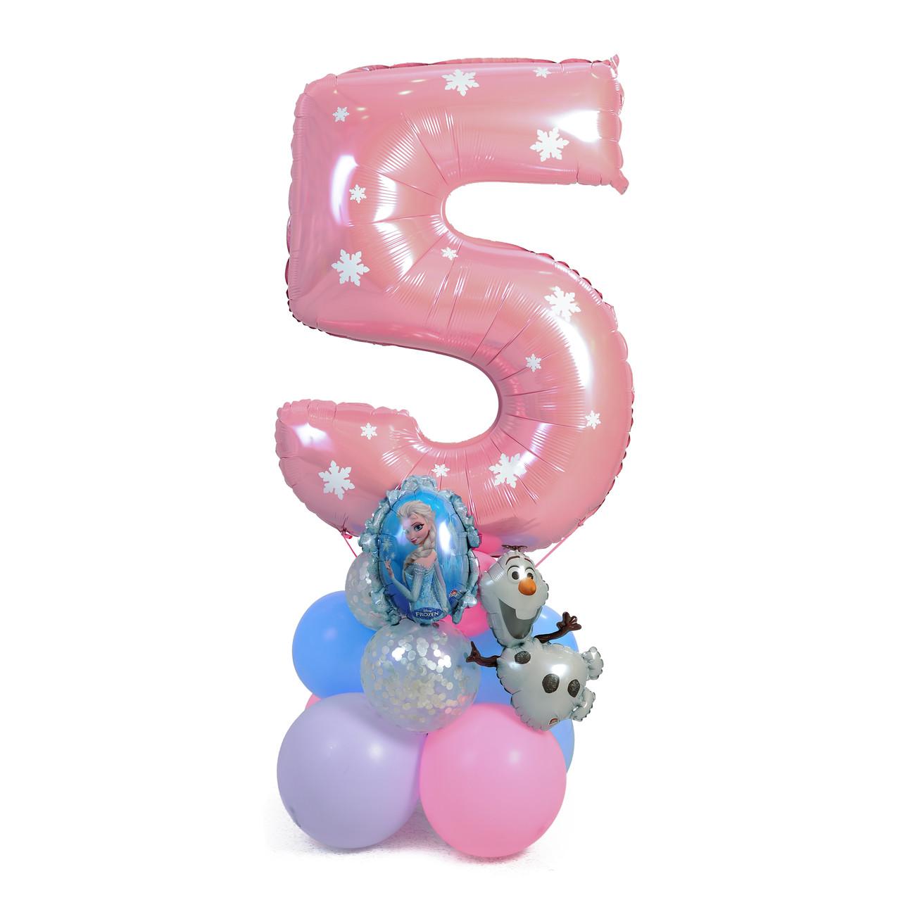 Цифра розовая с декором снежинки на подставке с Эльзой и Олафом