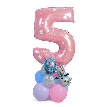 Цифра розовая с декором снежинки на подставке с Эльзой и Олафом, фото 2