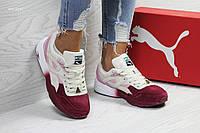 Женские замшевые кроссовки Puma Trinomic,бежевые с бордовым