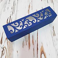 Коробка картонна для макарунс синя 200х50х50 мм.