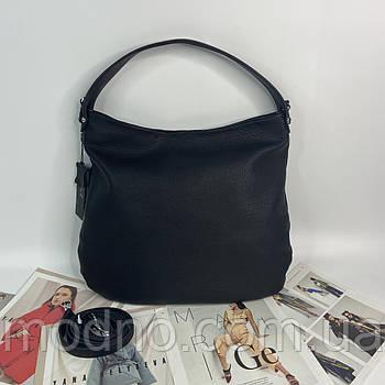 Жіноча якісна шкіряна сумка на та через плече Polina & Eiterou чорна