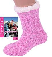 Женские теплые розовые домашние носки с тормозами. Размер 35-40, фото 1