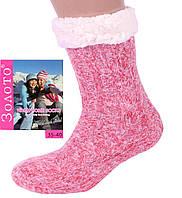 Розовые женские теплые домашние носки с тормозами. Размер 35-40, фото 1
